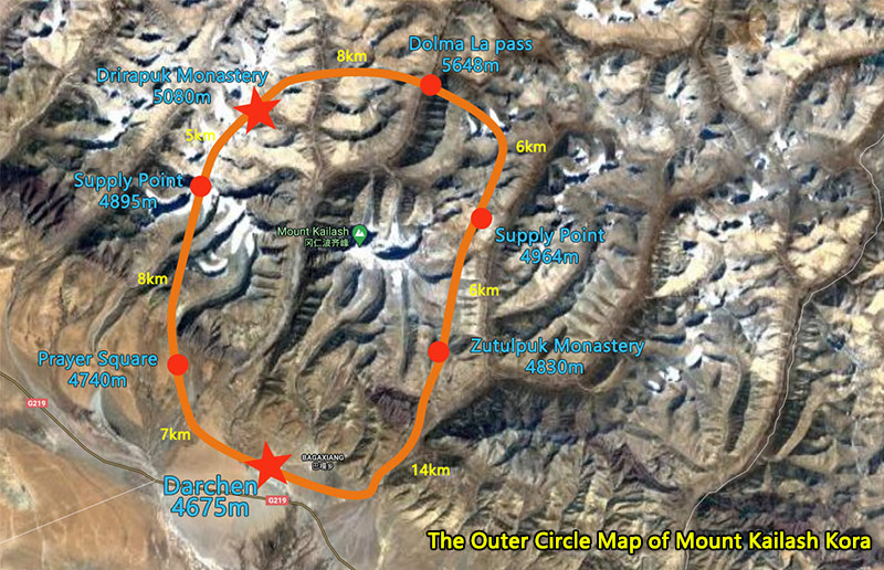 The Outer Circle Map of Mount Kailash